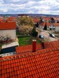 Rote Dächer und Kamine Stockfotografie