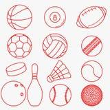 Rote dünne Linie Design der Sportbälle Stockfotos