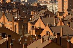 Rote Dachspitzen Stockfoto