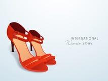 Rote Damenschuhe für Feier der internationalen Frauen Tages Stockbild