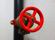 Rote Dampf-Ventil-Nahaufnahme Stockfoto