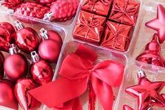 Rote Dekoration eingestellt für Weihnachten Lizenzfreie Stockfotografie