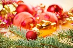 Rote Dekorationkugel mit geziertem Zweig stockfotos