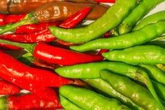 Rote der Nahaufnahme frische und grüne Paprikas auf weißem Hintergrund Stockfotografie