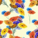 Rote des nahtlosen Musteraquarells wilde, gelbe, blaue Blumen auf dem gelben Hintergrund Lizenzfreie Stockfotografie