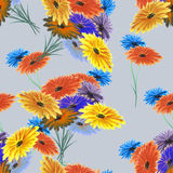 Rote des nahtlosen Musteraquarells wilde, gelbe, blaue Blumen auf dem grauen Hintergrund Stockfotografie