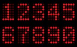 Rote Digits für Matrixbildschirmanzeige. lizenzfreie abbildung