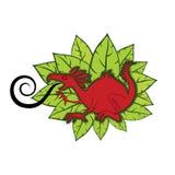 Rote Dracheabbildung mit Blumenauslegung lizenzfreie abbildung