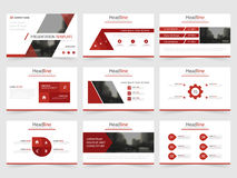 Rote Dreieckdarstellungsschablonen, flaches Design der Infographic-Element-Schablone stellten für Jahresberichtbroschüren-Flieger Lizenzfreies Stockbild