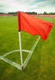 Rote Eckflagge Stockfoto