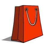 Rote Einkaufstasche auf Weiß. Vektorillustration Lizenzfreie Stockfotos