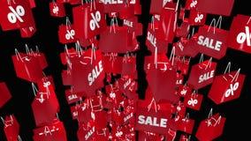 Rote Einkaufstaschen mit Verkauf und Prozentaufschrift auf Schwarzem stock abbildung