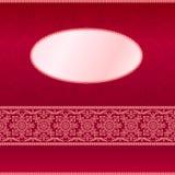 Rote Einladungskarte mit Verzierungmotiv Stockbild