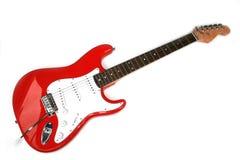 Rote elektrische Gitarre mit sechs Zeichenketten Stockbilder