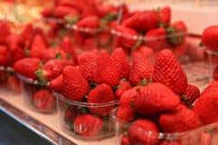 Rote Erdbeeren in den Plastikbehältern lizenzfreie stockbilder