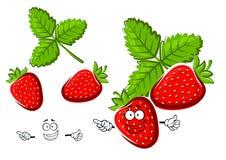 Rote Erdbeerfruchtzeichentrickfilm-figur Lizenzfreie Stockfotografie