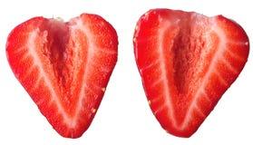 Rote Erdbeerscheibe lokalisiert auf weißem Hintergrund lizenzfreies stockbild