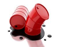 rote Fässer 3d zwei mit dem Öl verschüttet lizenzfreie abbildung