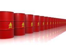 Rote Fässer, die feuergefährliches Material enthalten Lizenzfreies Stockfoto
