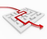 Rote Führungen des Pfeiles 3d durch ein Labyrinth Vektor Abbildung
