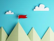 Rote Fahne auf Berg und Wolkenhimmel Lizenzfreie Stockbilder