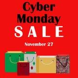 Rote Fahne cyber-Montages mit Einkaufstaschen am 27. November vektor abbildung