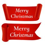 Rote Fahne der frohen Weihnachten, lokalisiert auf weißem Hintergrund Lizenzfreies Stockfoto