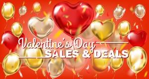 Rote Fahne der Valentinsgruß-Tagesverkäufe und -abkommen Goldmit metallischen Ballonen lizenzfreie abbildung