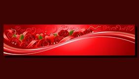 Rote Fahne des Valentinsgrußes stieg Lizenzfreies Stockfoto