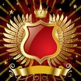 Rote Fahne mit Goldflügeln Stockfotos