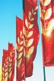 Rote Fahnen Lizenzfreie Stockfotos