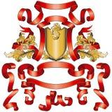 Rote Fahnen-Ansammlung mit goldenem Schild vektor abbildung