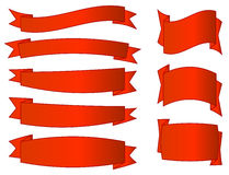 Rote Fahnen eingestellt Stockbild