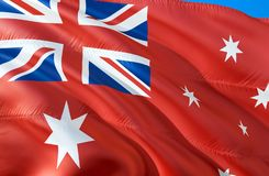Rote Fahnenflagge Australiens wellenartig bewegendes Design der Flagge 3D Das nationale Sonderzeichen roter Fahne Australiens, Wi stockbild
