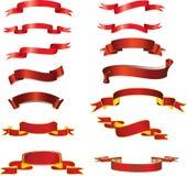 Rote Farbbänder Stockfoto