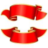Rote Farbbandansammlung Stockfoto