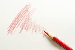 Rote Farbbleistift und rote Stange Stockfoto