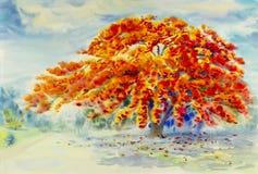 Rote Farbe der Aquarelllandschaftsursprünglichen Malerei des Pfauflusses stockfotos