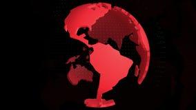 Rote Farbe der Weltkarte auf schwarzem Hintergrund stock footage