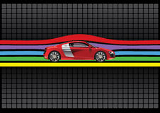 Rote Farbe des modernen Autos getrennt. Abbildung Lizenzfreies Stockfoto