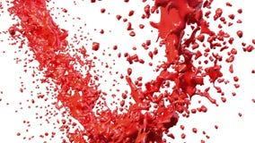 Rote Farbe, die einen Kreis auf klarem weißem Hintergrund bildet Alpha Matt-, volles hd, CG, 3d übertragen Element von Bewegungsg stock abbildung