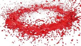 Rote Farbe, die einen Kreis auf klarem weißem Hintergrund bildet Alpha Matt-, volles hd, CG, 3d übertragen Element von Bewegungsg lizenzfreie abbildung