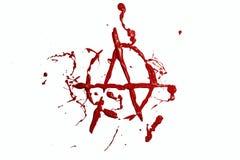 Rote Farbe gemaltes Anarchiezeichen Stockfoto