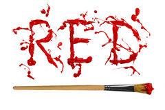 Rote Farbe gemaltes Wortblut Stockfoto