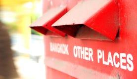Rote Farbe Postbox Bangkoks Thailand Lizenzfreies Stockfoto