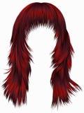 Rote Farben der modischen Haare der Frau langen Schönheitsmode Realisti stock abbildung