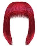 Rote Farben der modischen Haare kare Franse Schönheitsmode stock abbildung