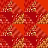Rote Farbtraditionelles Verzierungspatchworkmuster vektor abbildung