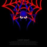 Rote Fasern der Spinnen-Grafiken auf einem schwarzen Hintergrund lizenzfreie abbildung