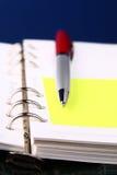 Rote Feder auf einem Organisator mit einem vorgewählten Fokus Stockbilder